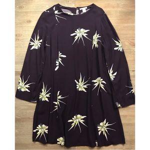 H&M long sleeve floral button back dress